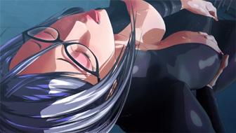 3D хентай очкастой брюнетки с большими сиськами